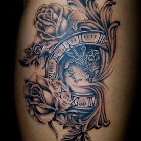 BLACK AND GREY,BAROK,KLOK,CLOCK,FILIGREE,ROZEN,ROSES,TATTOO,TATOEAGE