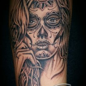 TATTOO,TATOEAGE,BLACK AND GREY,CHICANO,MUERTA