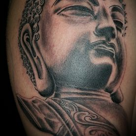 TATTOO,TATOEAGE,JAPANS,JAPANESE,BLACK AND GREY,BOEDDHA,BUDDHA