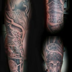 TATTOO,TATOEAGE,SLEEVE,BLACK AND GREY,ORIENTAL,GANESHA,BUDDHA,BOEDDHA,TEMPEL,TEMPLE