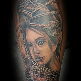 TATTOO,TATOEAGE,JAPANS,JAPANESE,BLACK AND GREY,GEISHA