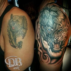 TATTOO,TATOEAGE,COVER UP,BLACK AND GREY,TIGER TIJGER