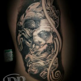 BLACK AND GREY,REALISTISCH,GOD,ZEUS,REALISTIC,TATTOO,TATOEAGE